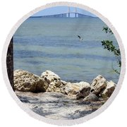 Sunshine Skyway From The Causeway Round Beach Towel
