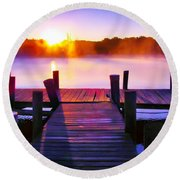 Sunup Over Rock Creek Round Beach Towel
