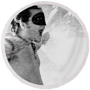 Superboy Of Peachtree Black And White Round Beach Towel