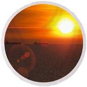 Supertanker Sunset Round Beach Towel