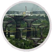 Supertrees At The Gardens By The Bay In Singapore Round Beach Towel