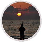 Surf Fishing 1 Round Beach Towel