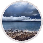 Surface Clouds Round Beach Towel