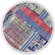Surface Of Integrated Chip Round Beach Towel by Michael W. Davidson
