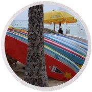 Surfboards On Waikiki Beach Round Beach Towel