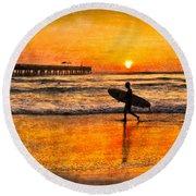 Surfer Silhouette Round Beach Towel