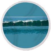 Surfing Dolphins 2 Round Beach Towel