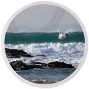 Surfing In Cornwall Round Beach Towel by Brian Roscorla