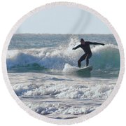 Surfing The Atlantic Round Beach Towel