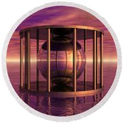 Metal Cage Floating In Water Round Beach Towel