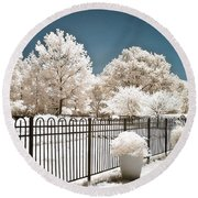 Surreal Michigan Infrared Nature - Dreamy Color Infrared Nature Fence Landscape Michigan Infrared Round Beach Towel