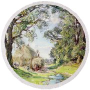 Surrey Landscape  Round Beach Towel