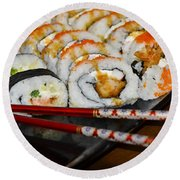 Sushi And Chopsticks Round Beach Towel