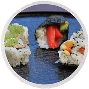 Sushi California Roll Round Beach Towel