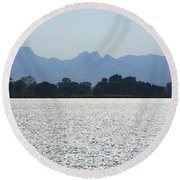 Sutter Buttes And Flooded Rice Field Round Beach Towel