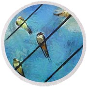 Swallows Goes To South Round Beach Towel