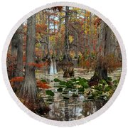 Swamp In Fall Round Beach Towel