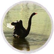 Swan Dance 3 Round Beach Towel