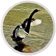 Swan Dance Round Beach Towel