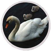 Swan Family 1 Round Beach Towel