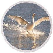 Swan Landing Round Beach Towel