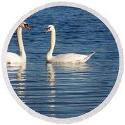 Swan Mates Round Beach Towel by Sabrina L Ryan