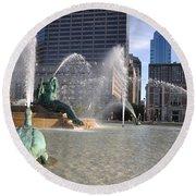 Swann Memorial Fountain In Philadelphia Round Beach Towel