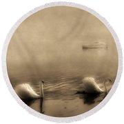 Swans Round Beach Towel by Joana Kruse