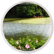 Swans On Pond And Hibiscus With Oil Painting Effect Round Beach Towel