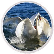 Swans Playing Round Beach Towel
