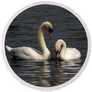 Swans Swimming Round Beach Towel