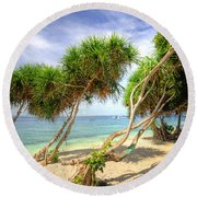 Swaying Palm Trees Round Beach Towel