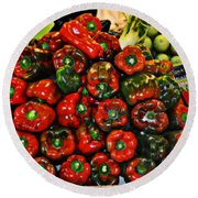 Sweet Red Peppers Round Beach Towel