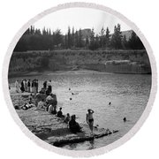 Swiming Time 1945 Round Beach Towel