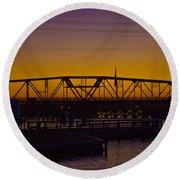 Swing Bridge Sunset Round Beach Towel