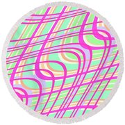 Swirly Check Round Beach Towel