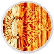 Swirly Embossed Gold Round Beach Towel