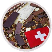 Swiss Chocolate Round Beach Towel by Joana Kruse