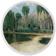 Swiss Landscape Round Beach Towel