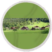 Swiss Village In The Alps Round Beach Towel