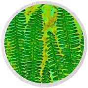 Sword Fern Fossil-green Round Beach Towel