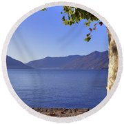 sycamore tree at the Lake Maggiore Round Beach Towel by Joana Kruse