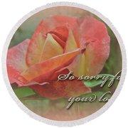 Sympathy Greeting Card - Peach Rose Round Beach Towel
