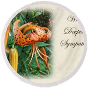 Sympathy Greeting Card - Wildflower Turk's Cap Lily Round Beach Towel