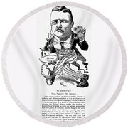 T. Roosevelt Cartoon, 1903 Round Beach Towel