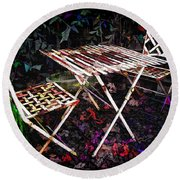 Table And Chairs Round Beach Towel by Joan  Minchak