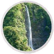 Tahitian Waterfall Round Beach Towel