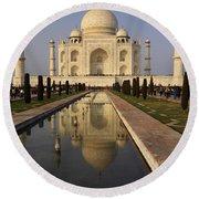 Taj Mahal Reflection Round Beach Towel