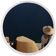 Taking In The View Santorini Round Beach Towel
