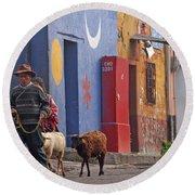Taking Sheep To Market At Chichicastenango Round Beach Towel